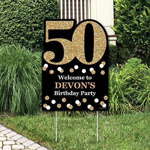 Big Dot of Happiness Custom Adult 50th Birthday - Gold - Party Decorations - Birthday Party Personalized Welcome Yard Sign ()