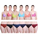 1bfb8df7ef670 Freely Printed Cotton Bra   Panty Combo - Pack of 12  Amazon.in ...