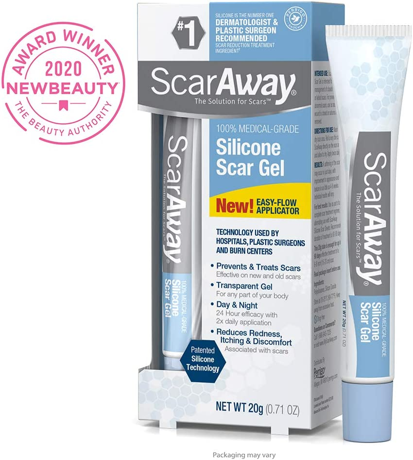 ScarAway 100% Medical-Grade Silicone Scar Gel for Face, Body, Surgical, Burn, Hypertrophic Scars, Keloids and Acne Scar Treatment, 0.71 Ounces, (20 Grams) : Scar Reducing Treatments : Beauty