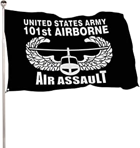HASKAS US Army 101st Airborne Air Assault 3 x 5 Feet Flag, American Flag with Grommets Banner Breeze Flag for Home House Outdoor Garden Yard Decorations