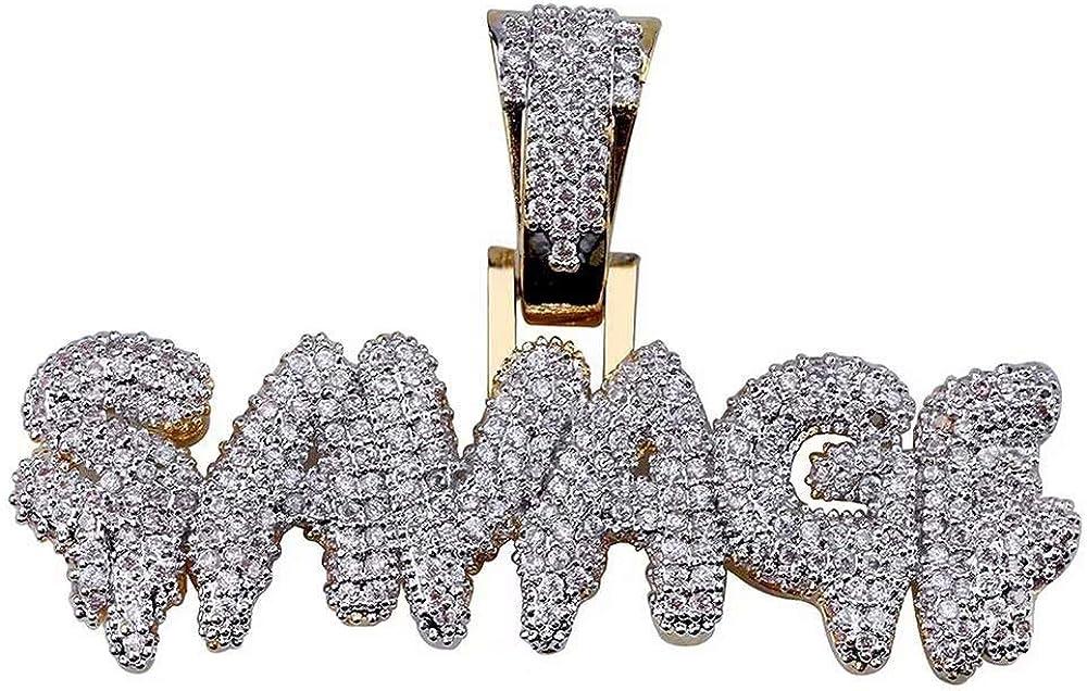 Plein De Diamant Lettres Pendentif Collier avec 24Cha/îne En Acier Inoxydable Hip Hop Iced Out Hommes Bijoux Personnalit/é Lettre SAVAGE Pendentif Collier