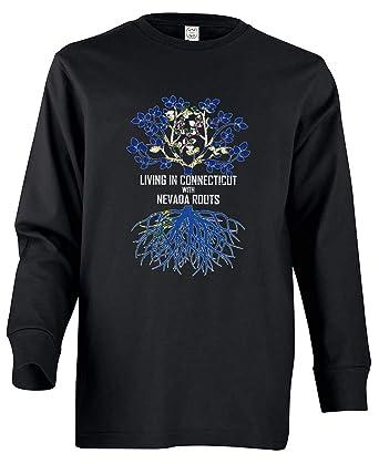 Tenacitee Girls Living in Nevada with Connecticut Roots Hooded Sweatshirt