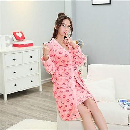 YSFU Albornoces Pijamas Albornoz De Las Mujeres Otoño Invierno Pijamas Cómodos Batas De Baño Transpirables Gruesas
