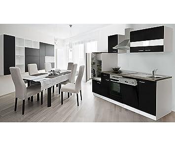 respekta Küchenzeile 280 cm weiß schwarz Ceran - mit APL Nussbaum ...