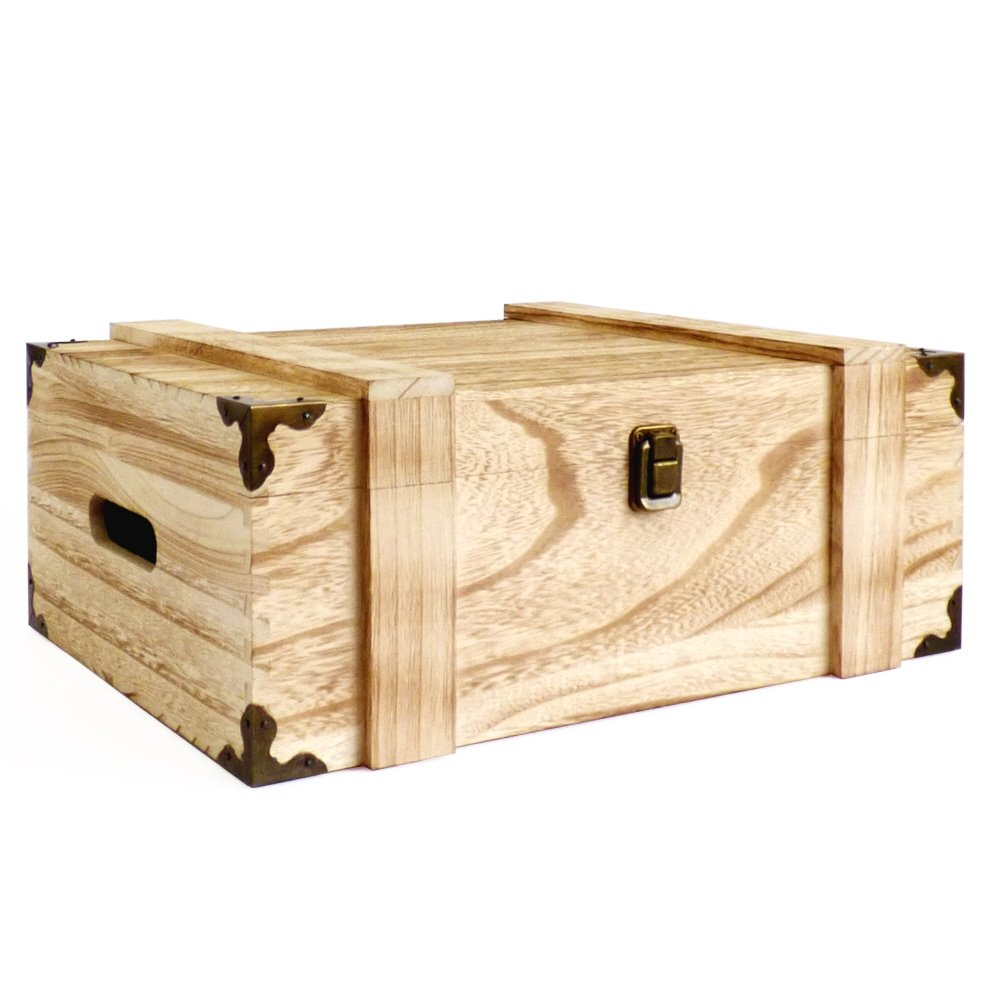 Wooden Storage Chest Box with Decorative Corner Protectors - Gift ...