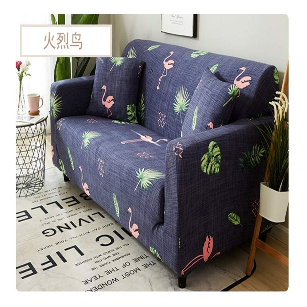 3seat VGUYFUYH Flower And Bird Pattern Four Seasons Universal Non-Slip Sofa Cover Polyester All-Inclusive Elastic Home Universal Sofa Cover Simple Fashion One Set Durable Dust Pet Dog Predective Cover