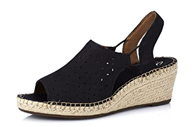 1efe031ef Image Unavailable. Image not available for. Colour  Clarks Artisan Petrina  Gail Leather Espadrille Wedge Sandal Standard Fit - Black - UK ...