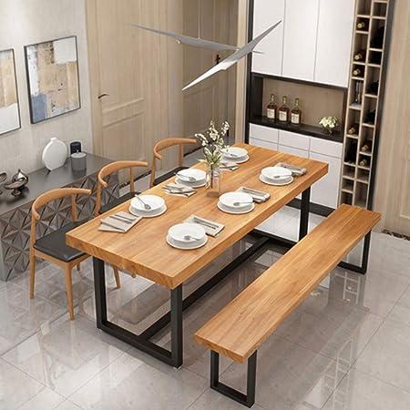 Home Innovation - Mesa de comedor de madera maciza, mesa de café rústica industrial, diseño moderno, mesa