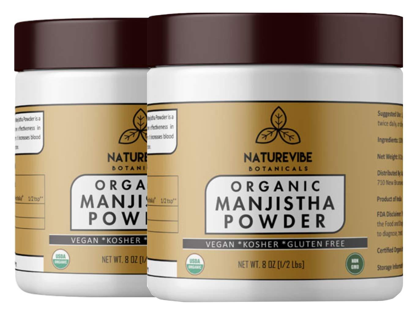 Naturevibe Botanicals Organic Manjistha Powder 16 Oz(2 Packs of 8 Oz Each) - Non GMO, Gluten Free and Kosher | Rubia Cordifolia | Promotes Healthy and Clear Skin.