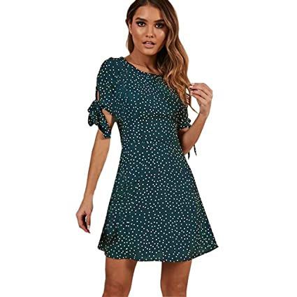 b03bd4c387b0 Amazon.com  LOMONER Girls  Fashion 2019 Women Summer Dot Print Short ...