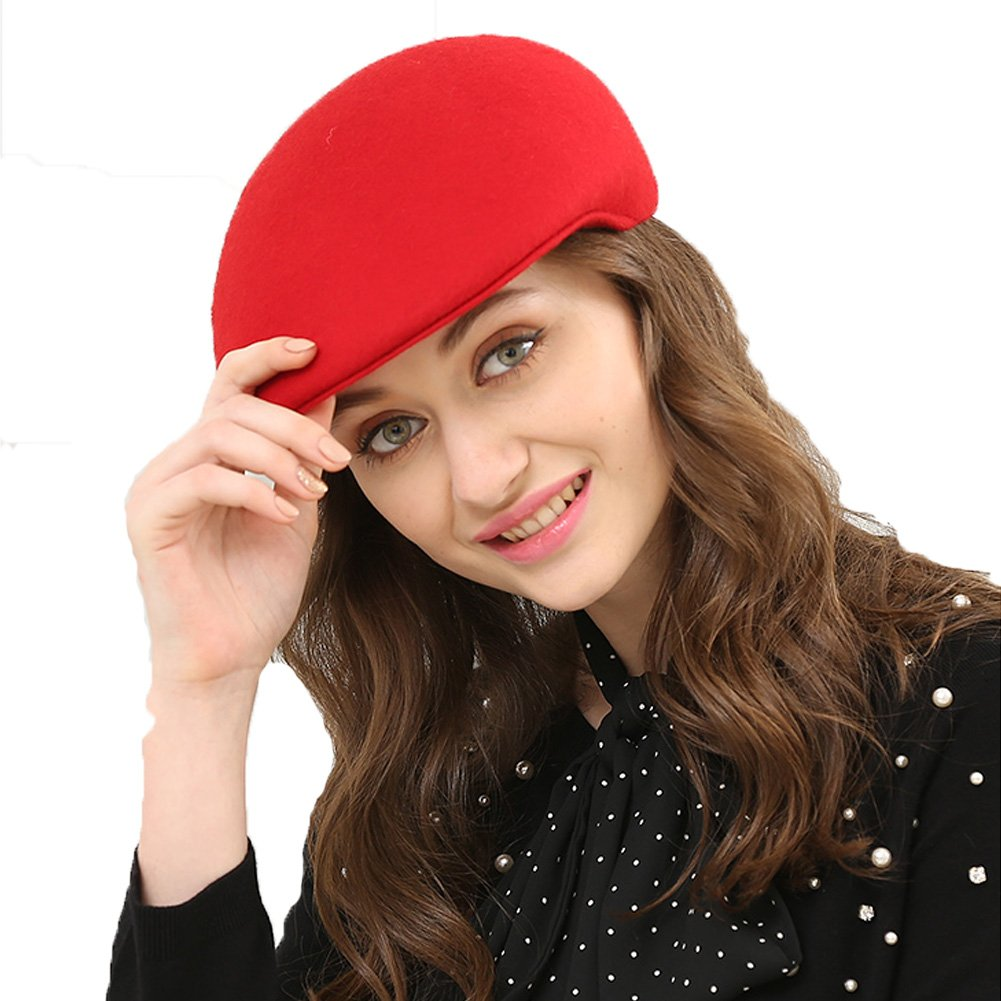 Queenestar Australian Wool Beret Hat Cap For Women Plain Winter Warm Beret Caps (Red)