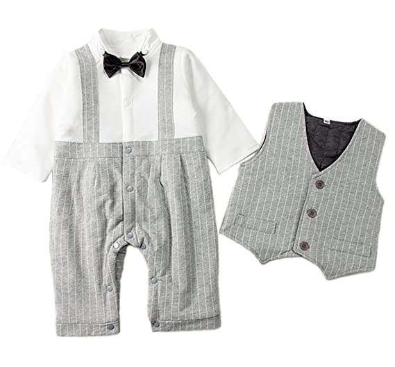 7bc478780 Stylesilove Extra Warm Quilted Line Baby Kids Boy Tuxedo Romper and Vest  (80/12