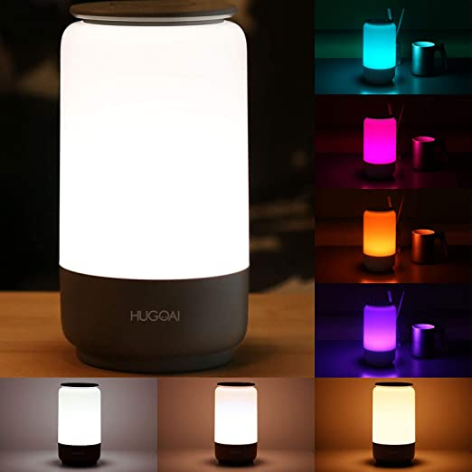 Hugoai Led Table Lamp Bedside Lamp Night Light Lamps For Bedrooms With Dimmable Whites Vibrant Rgb Colors And Memory Function No Flicker Grey