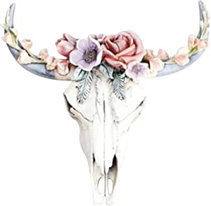 Succulent/Flower Cow Skull Wall Decor Nursery Decor, Cow Steer Skull Wall Hanging Resin Crafts, Western Steer Bison Animal Wall Sculpture Bull Skull Wall Decor Resin Ornament for Home Wall Decor (B)