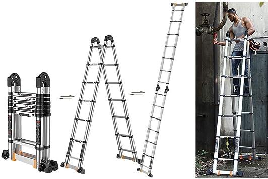 8,2 metros / 27 pies de extensión telescópica de aluminio Escalera Aframe, escalera portátil ligero plegable multipropósito Con barra de soporte, la carga máxima de 300 kg / 660lb) lxhff: Amazon.es: Bricolaje y herramientas