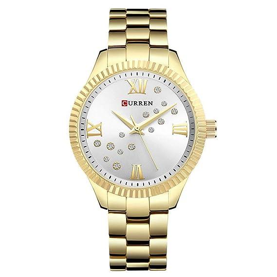 Relojes Curren para Mujer Reloj de Cuarzo de Lujo de Primera Marca, Impermeable, Acero