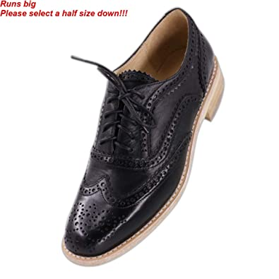 e4219aec26e1 JARO VEGA Women s Comfort Leather Sole Perforated Lace Up Wingtip Vintage Oxford  Flats Shoes Black Size
