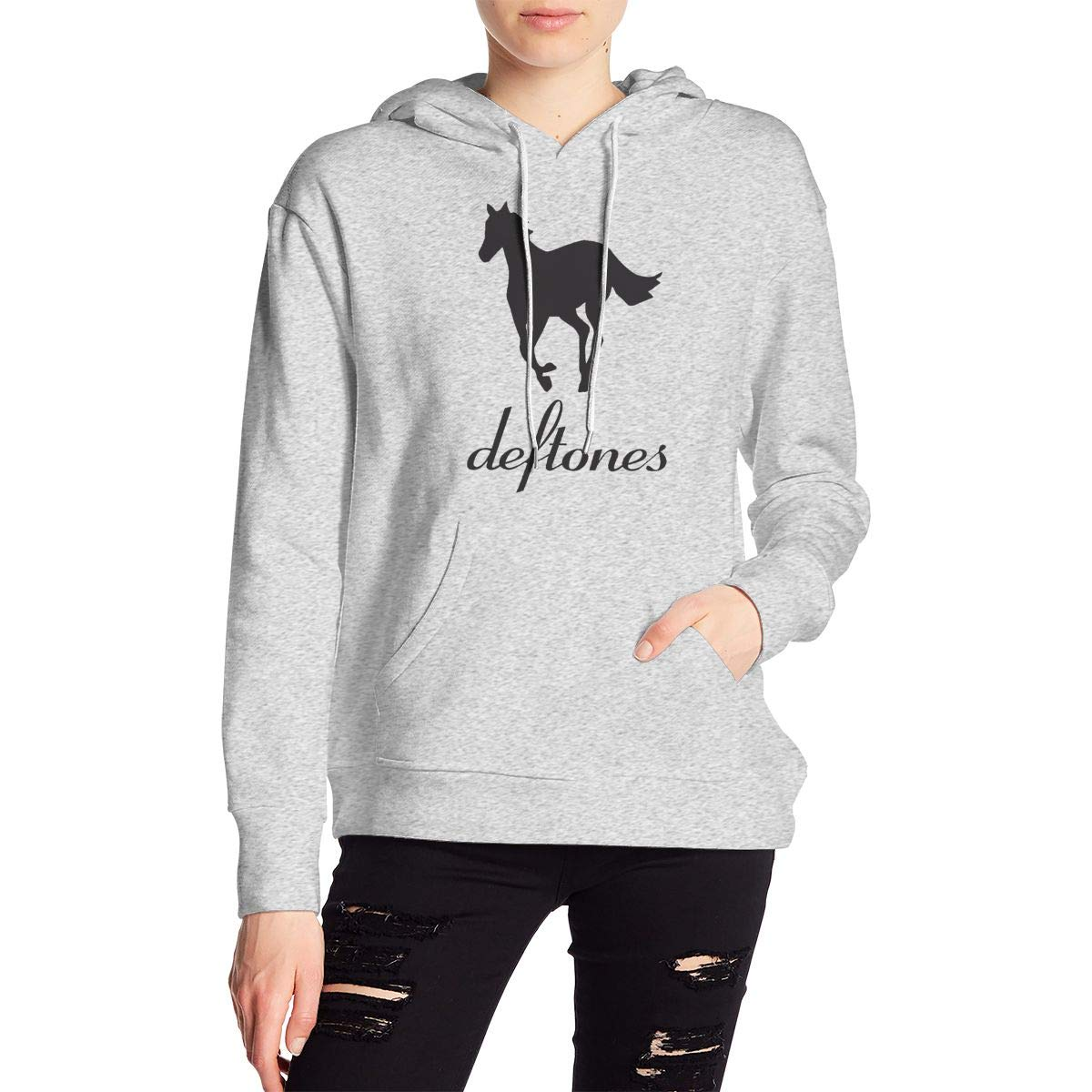 Womens Active Long Sleeve Fashion Hoodie Tunic Deftones Pullover Sweatshirt with Kangaroo Pocket