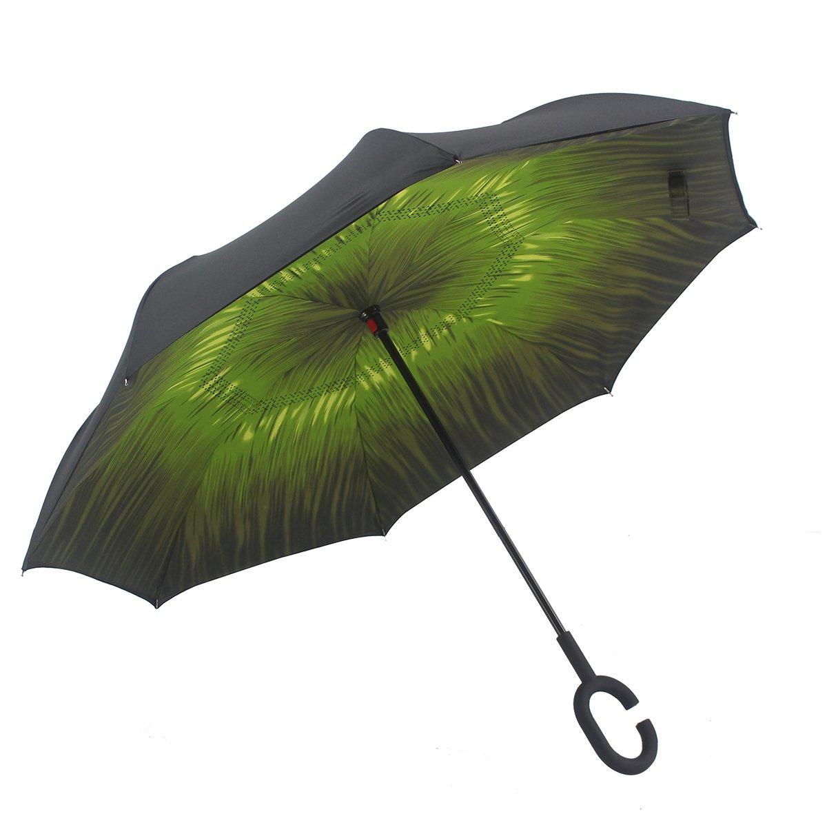 SIKAINI Inverted Umbrella Automatic Double-Layer Windproof,Travel Reverse Umbrellas UV Proof Folding for Women/Men. (green-1)