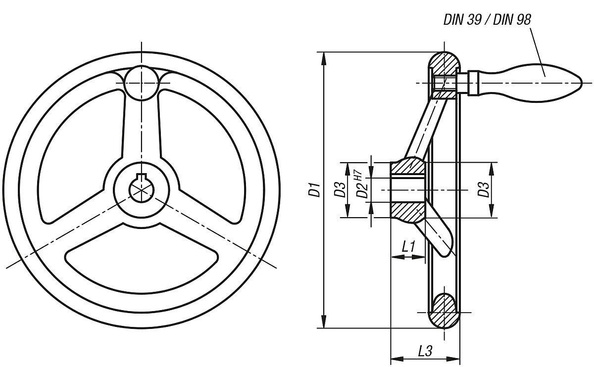 D1/= 160/ D2/= 14 Pack of 1/K0160.2160x14 Tilt Handwheel Without Nut Aluminium Complete: Aluminium