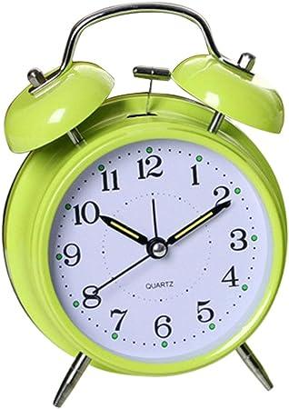Pink Flameer Alarm Clock Home Decor Bedside Desk Clock Vintage Silent Mute Quartz Analog Battery Operated Non-Ticking for Kids Bedroom