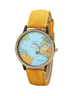 COOKI Womens Map Watch Ladies Watches Female Watches Denim Wrist Watches-H02,Yellow