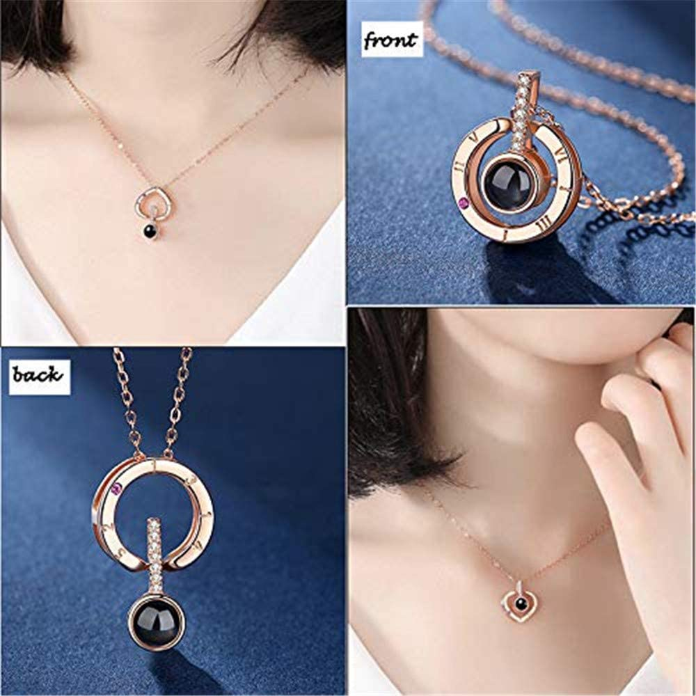 a266XDKSJK Customized Photo Necklace 925 Sterling Silver Projective Necklace The Memory of Love Necklace100 Different Languages for I Love U Mothers Day