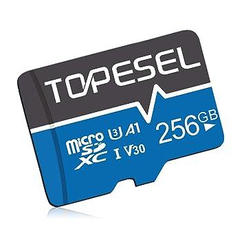 Tarjeta Micro SD 256GB, TOPESEL Tarjeta Memoria Alta Velocidad 90 MB/s SDXC Mini Tarjeta TF para Móvil, Tablet, Cámara, Tarjeta microSD 256GB (A1, U3 ...
