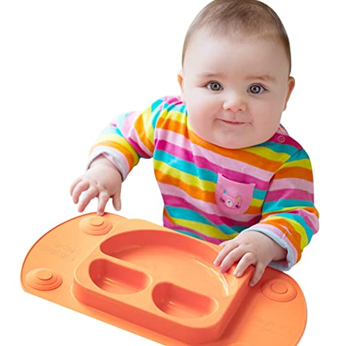 Mini EasyMat¨ for Highchair and Travel Feeding. Portable Baby Suction Plate & Placemat In One With Lid, Folding Sides & Carry Case. Small Sectional Baby Plate Perfect For Baby Led Weaning Age 6 Month+ by Tots R Us (Orange)