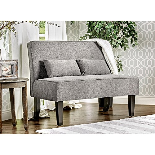 Home Amirsa Modern Upholstered Armless Loveseat Includes Bench Grey and Two Accent Pillows
