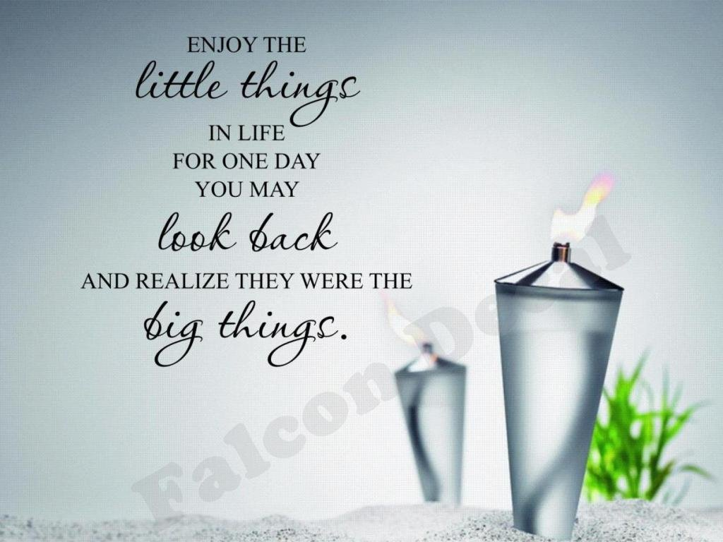 Amazon.com: Enjoy The Little Things In Life For One Day You May Look Back  And Realize They Were The Big Things Vinyl Wall Decal: Home U0026 Kitchen