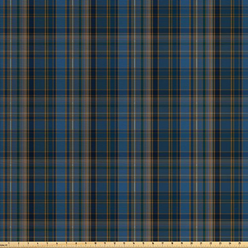 Plaid Decor Home Fabric (Lunarable Plaid Fabric by the Yard, Striped Geometric British Pattern with Modern Design Elements in Blue, Decorative Fabric for Upholstery and Home Accents, Blue Navy Blue Marigold)