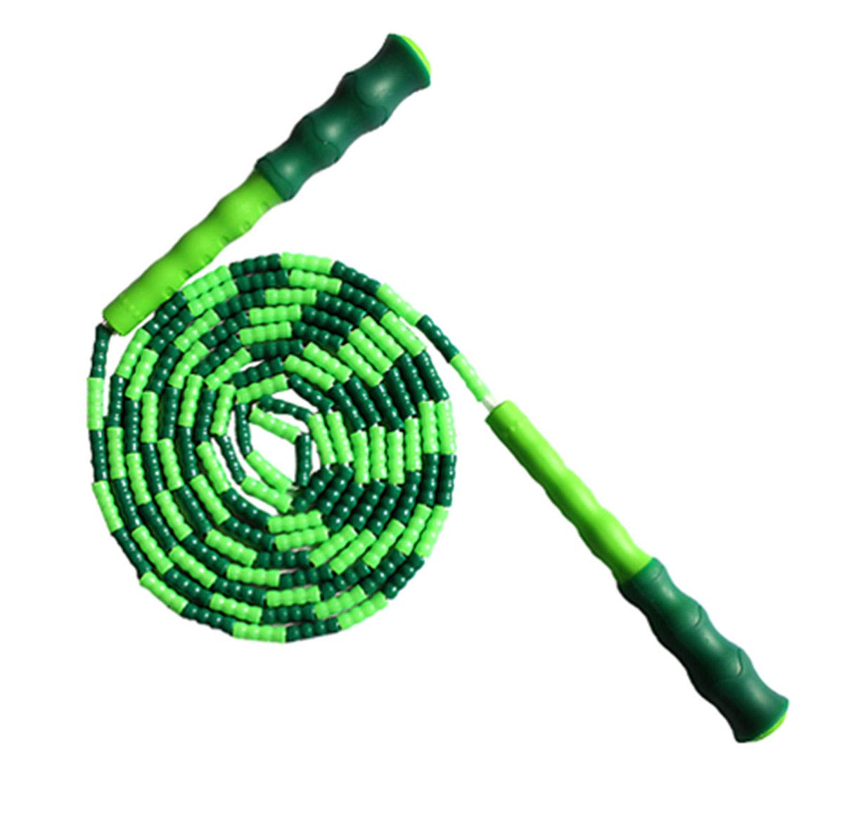 LETUSPORT 9 Feet Adjustable Beaded Segmented Jump Rope for Women Men Kids Lightweight Work Out Speed Jumping Ropes (Green, 1 pcs)