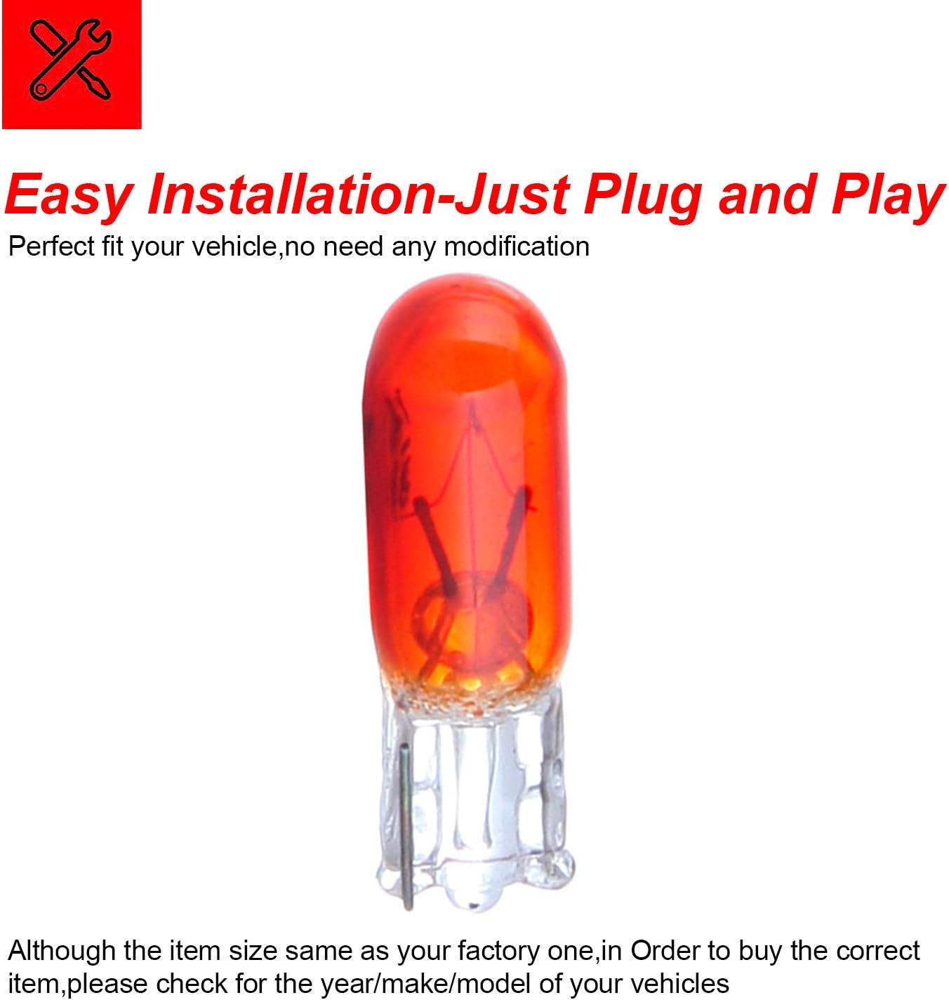 cciyu T5 74 Halogen Interior Light Bulb Instrument Cluster Gauge Dash Lamp,20 Pack yellow