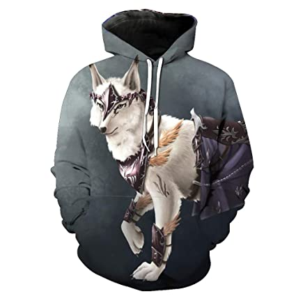 WEIYIGE Sudadera 3D War Wolf Print Sudadera con Capucha Y Cuello Alto Jersey Sombrero Masculino con