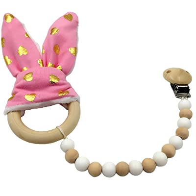 Amyster Pacifier Clip Wooden Teether Montessori Toy Silicone Beads Wood Ring Pink Gold Love Bunny Ear Wooden Baby Nursing : Baby