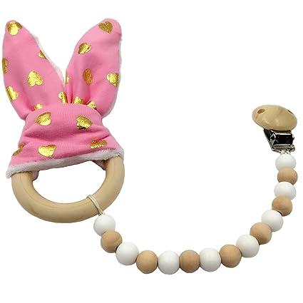 Coskiss Punto de oro rosa Chupete clip de madera del oído Mordedor ...