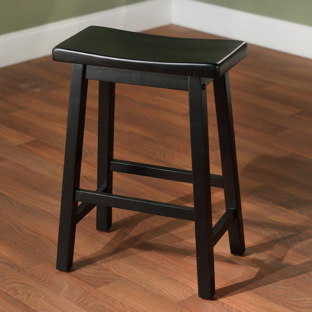 Target Marketing Systems 24-Inch Arizona Wooden Saddle Stool, Black