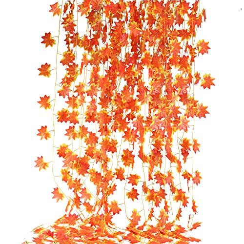 XYXCMOR 86 Feet Artificial Maple Leaf Garland 12 pack Hanging Vines Plants Fall Autumn Leave Vines for Indoor Outdoor Fireplace Thanksgiving Party Decoration (Outdoor Fall Party)