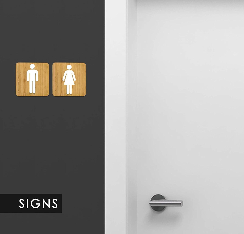 Targa in Legno a Rilievo Personalizzabili WC Set Targa ...