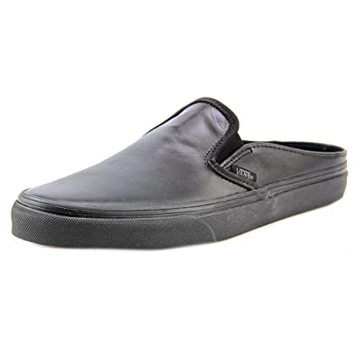 vans womens black leather slip on