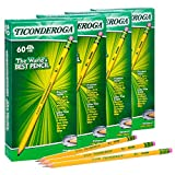 Ticonderoga Wood-Cased Graphite Pencils, Number 2 HB Soft, Pre-Sharpened, Yellow, 240 Count (14634)