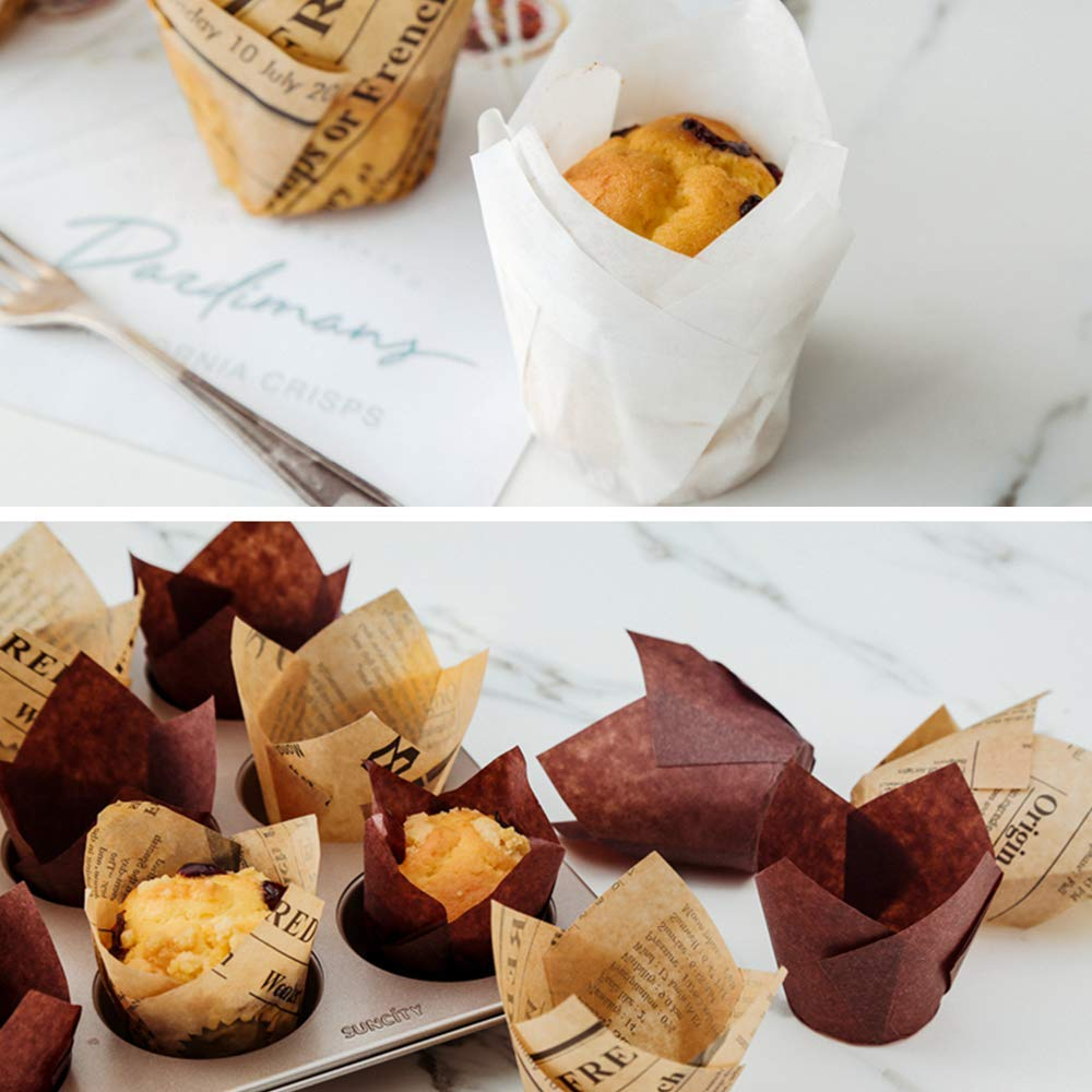 for Standard Size Cupcakes and Muffins Liners for Wedding 200 Pc Tulip Cupcake Liner Baking Cup STYLE THREE
