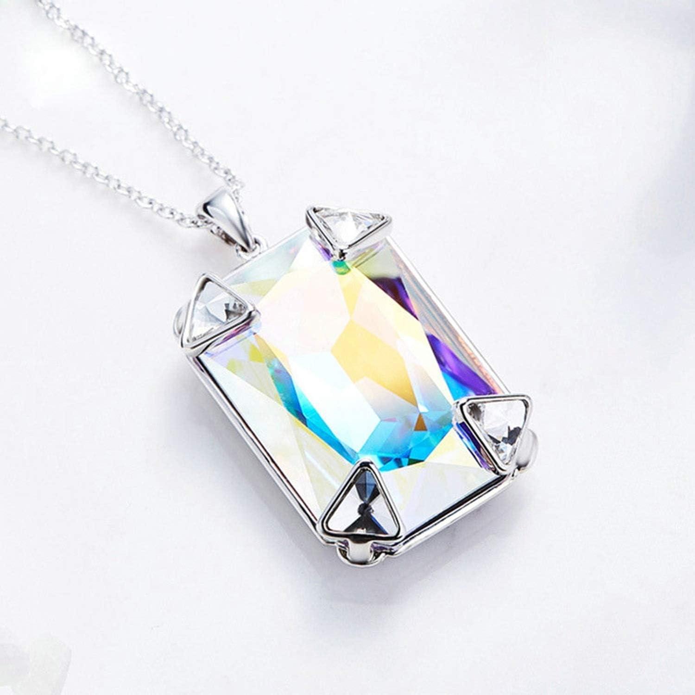 Gnzoe Women Ladies Brass Pendant Necklaces Rectangle Clear Crystal Cz Pendant Silver 40+6Cm