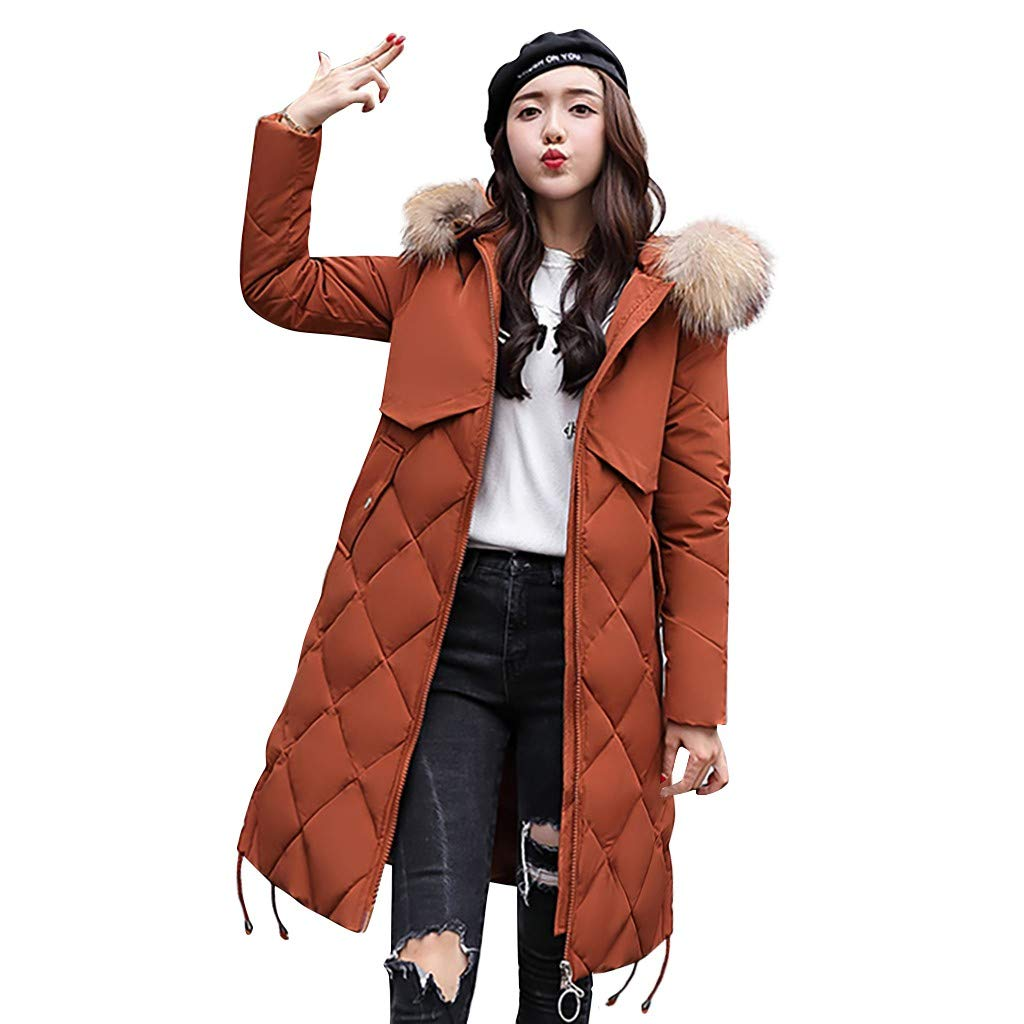 Fashionhe Cotton Coat Warm Outerwear Long Overcoat Hooded Jackets Cotton-Padded Pockets Bandage Coats(Brown.M) by Fashionhe