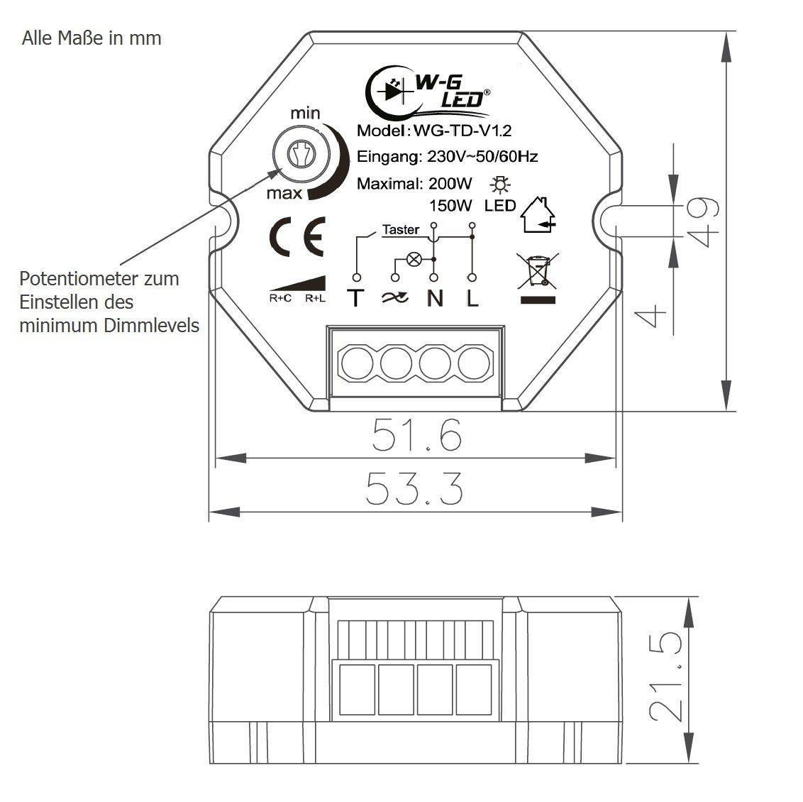 230v universal tast dimmer unterputz led dimmer taster 150w led 200w halogen 4260290668021 ebay. Black Bedroom Furniture Sets. Home Design Ideas