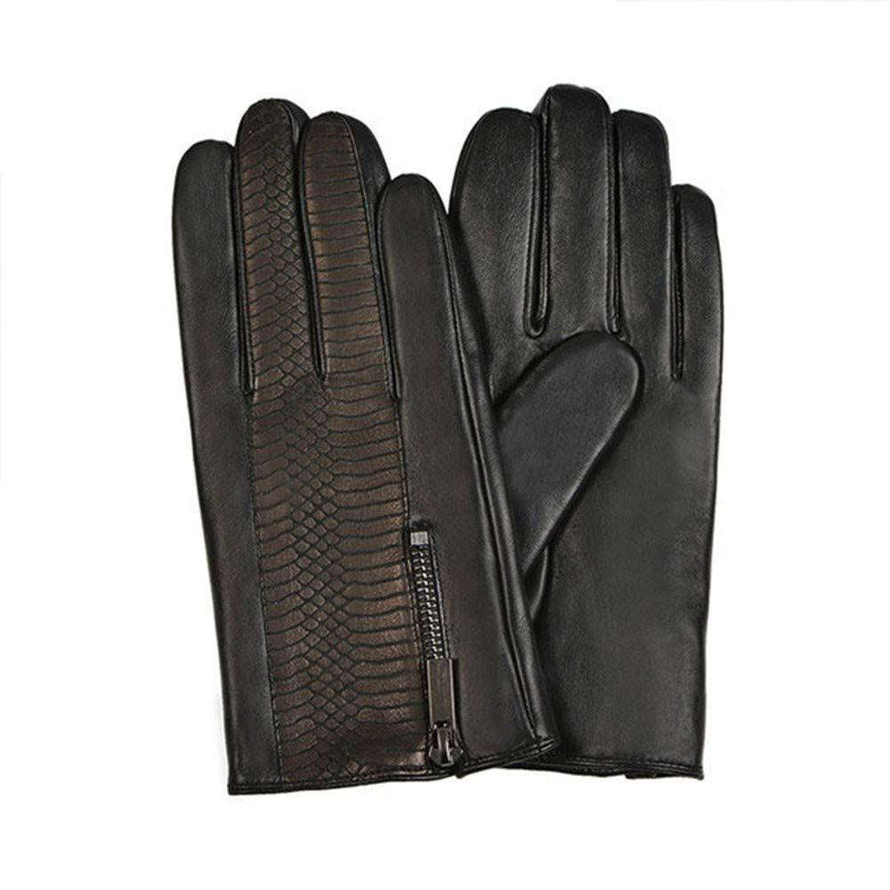 SDFVG Men's Gloves Zipper Herren Lederhandschuhe Geprägte Patchwork Warm Gefüttert Treibhandschuhe Echtes Leder Winter Touchscreen Handschuhe