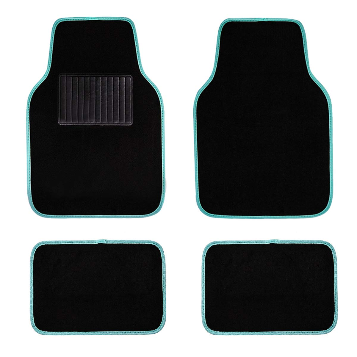 Black and Red CAR PASS Universal Waterproof Car Floor Mats with Heel Pad,Universal fit for Suvs,Trucks,sedans,Set of 4