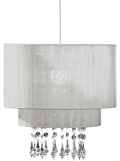 Ritz White Pendant Lamp Shade Crystal Effect Ceiling Chandelier ...