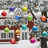 Christmas Yard Decorations - Traditional Hanging Christmas Ornaments (FLAT Globe Shape)